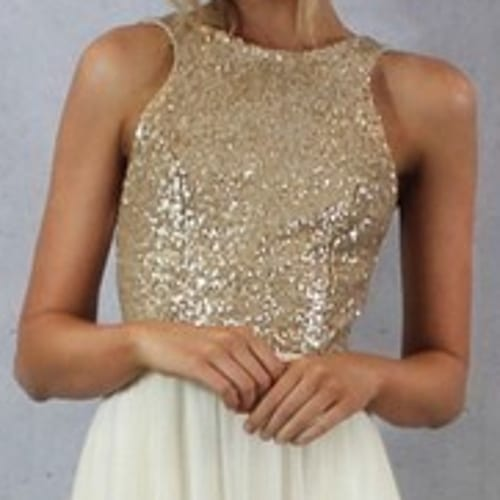 Charmming Chiffon With Top Sequin Bridesmaid Dress