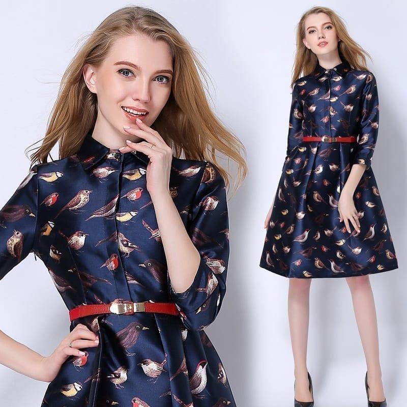 Birds Print Casual Midi Office Dress Plus Size Three Quarter Tunic
