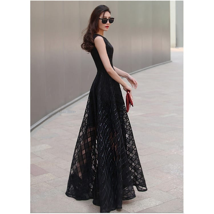 Long Style Sleeveless Fit And Flare Dress