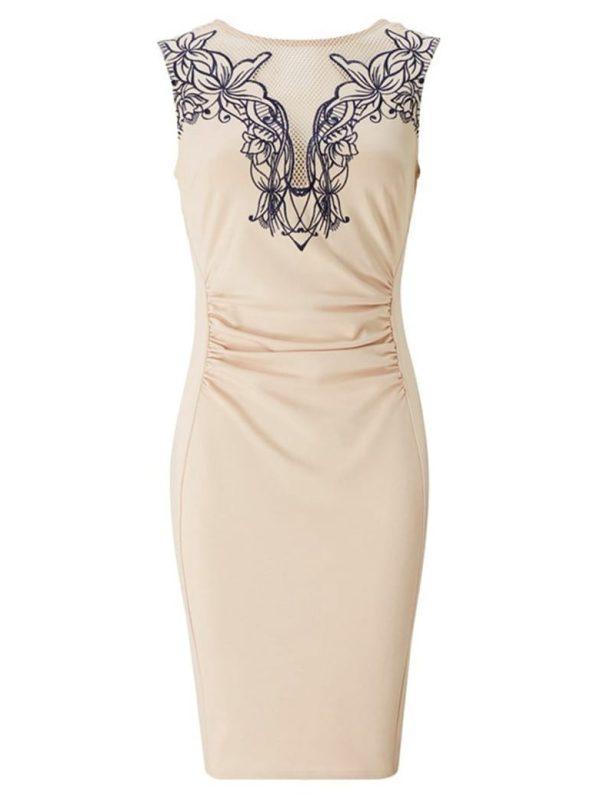 Sleeveless Embroidery Bodycon Work Dress