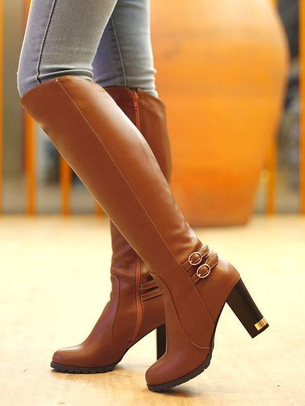 High-heeled Knee Zipper Knight Boots