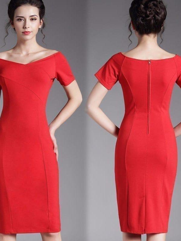 Short Sleeve Business Zipper V Neck Pencil Dress