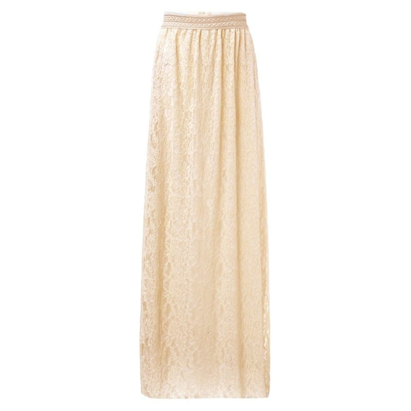 Double Layer Elastic High Waist Beige Elegant Ladies Maxi Long Skirt
