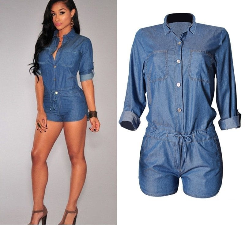 Demin Half Sleeve With Button And Belt Short Jumpsuit