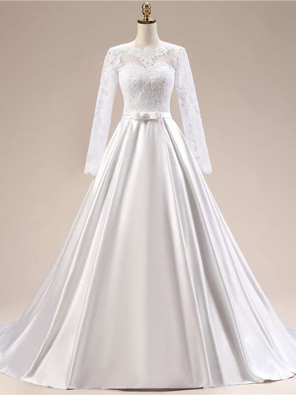 Elegant Simple Long Sleeve Wedding Dress