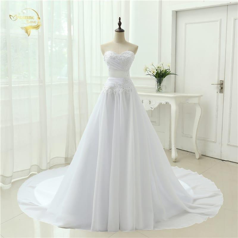 A-line Sweetheart Applique Belt Wedding Dress