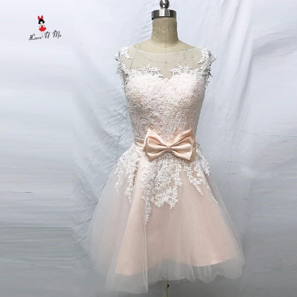 Elegant Bateau Cap Sleeve Appliques Knee Length Wedding Gown