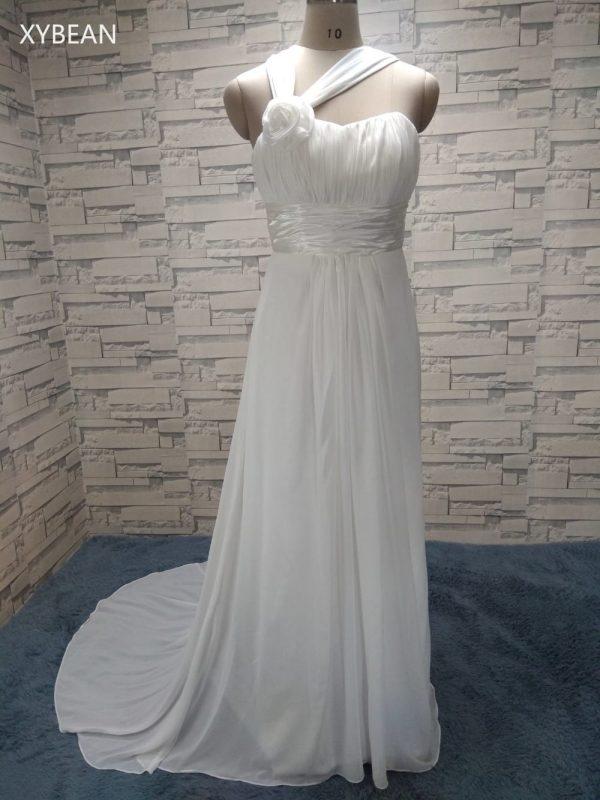 Halter Straps Handmade Flower Chiffon Beach Wedding Dress