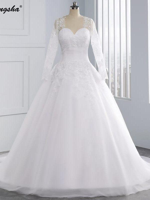 Sweetheart Lace Up Back Pleat Waist Chapel Train White Tulle A Line Lace Long Sleeve Wedding Dress