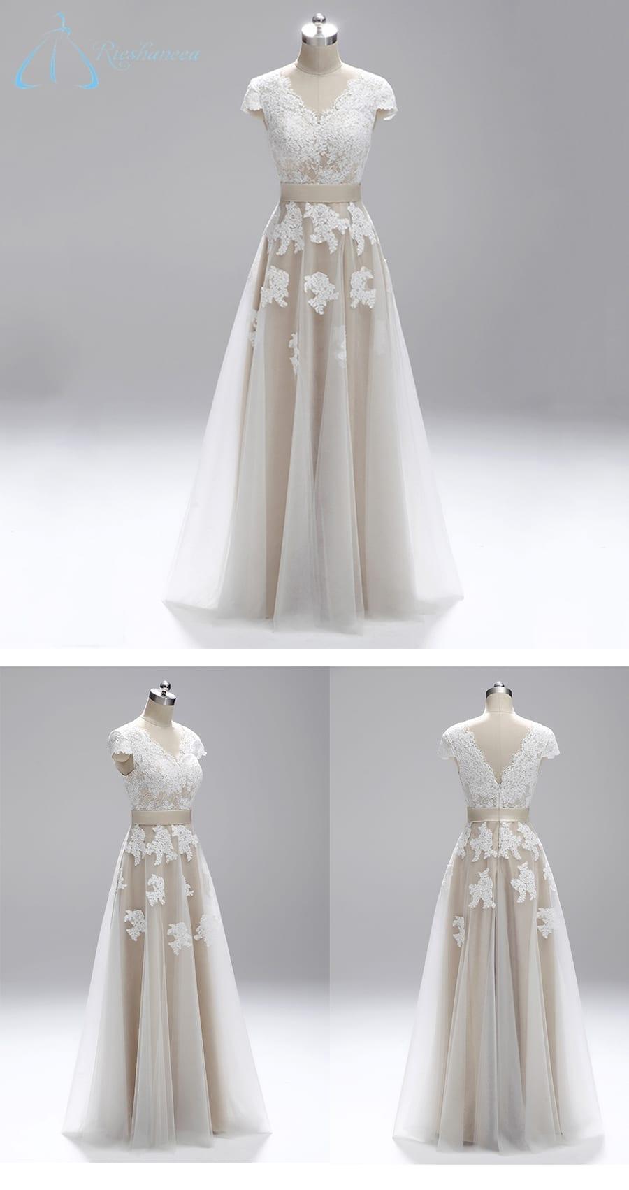 V-neck Lace Appliques A-line Wedding Dress