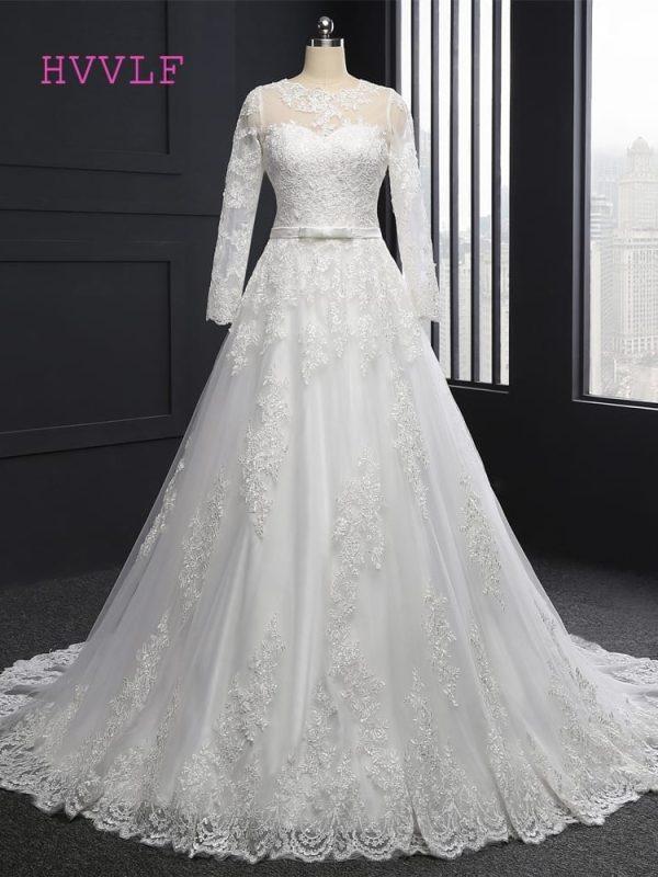 Vintage Long Sleeves Appliques A-line Wedding Dress