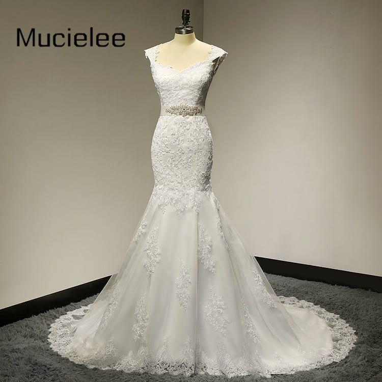 Pearls Sashes Elegant Mermaid Lace Wedding Dress