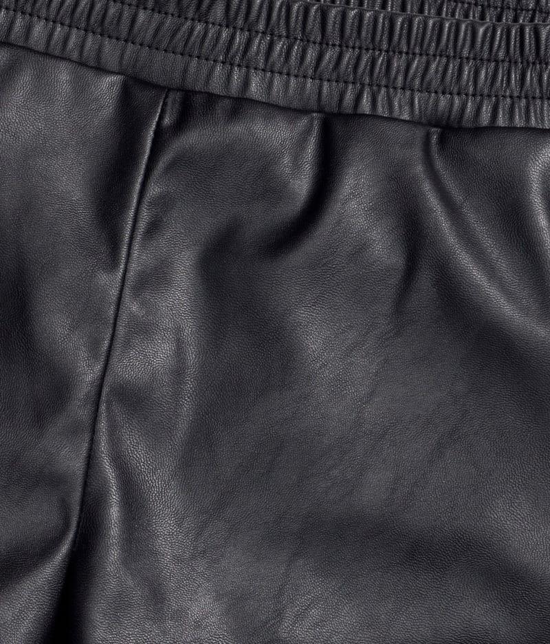 Pu Leather Solid Slim High Waist Shorts