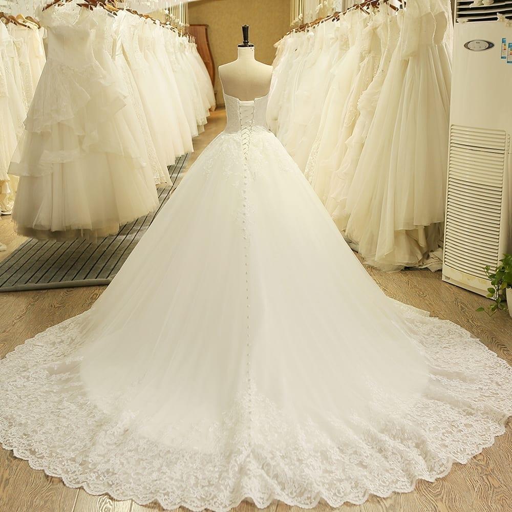Sweetheart Hidden Zipper Off The Shoulder Lace Wedding Dress