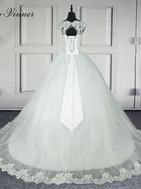 Backless Short Cap Sleeve Bohemian Lace Wedding Dress