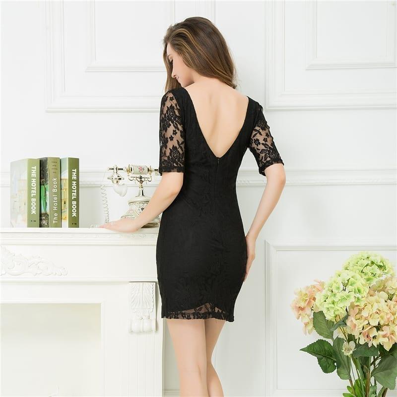 Black Lace Hollow Out Backless Mini Pencil Dress