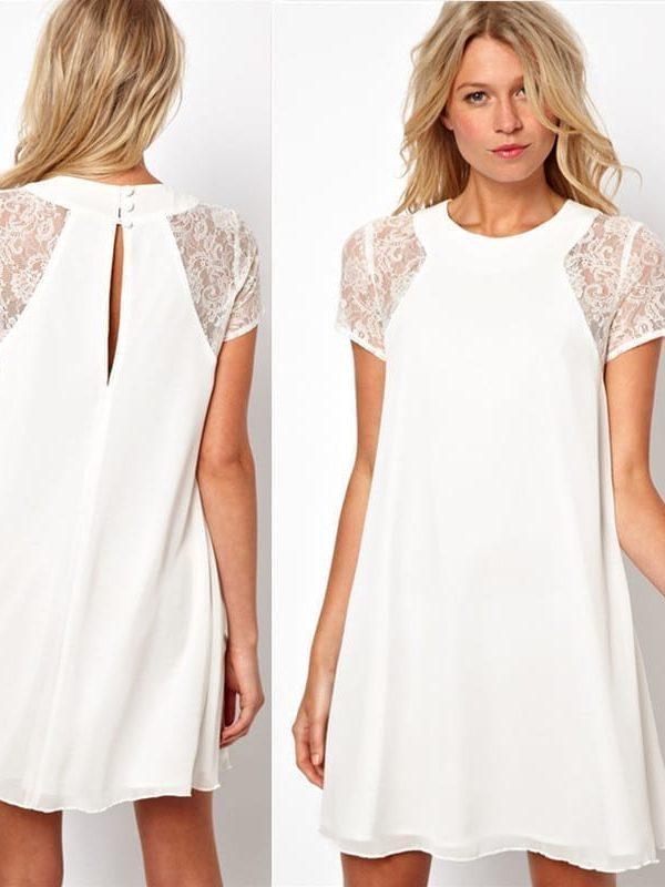 A-line Lace Chiffon Sleeve Patchwork Dress