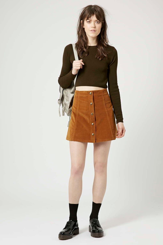 Petite Vintage Corduroy Button Front A-line Skirt