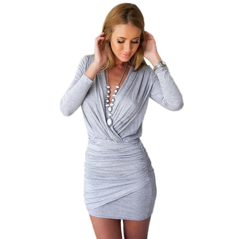 V-neck Long-sleeve A-line Above Knee Lady Slim Mini Dress