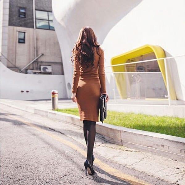 Turtleneck Long Sleeve Knee-length Sweater Dress