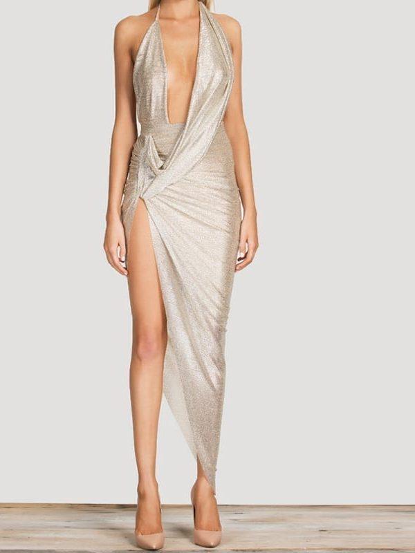 Pleated Slit Bodycon Dress