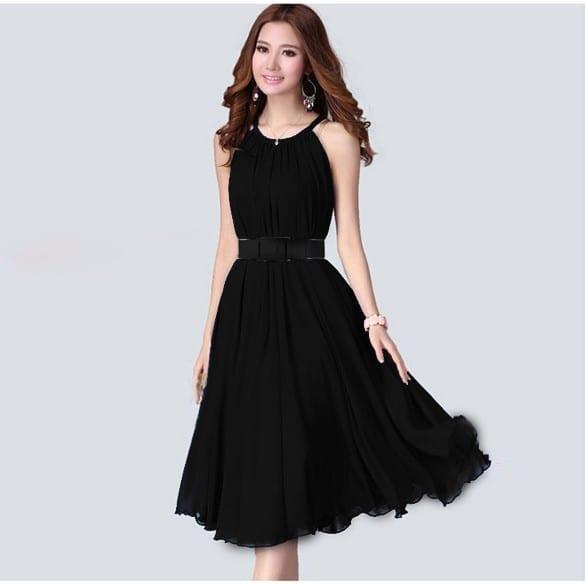 Elegant Sleeveless Chiffon Dress With Belt