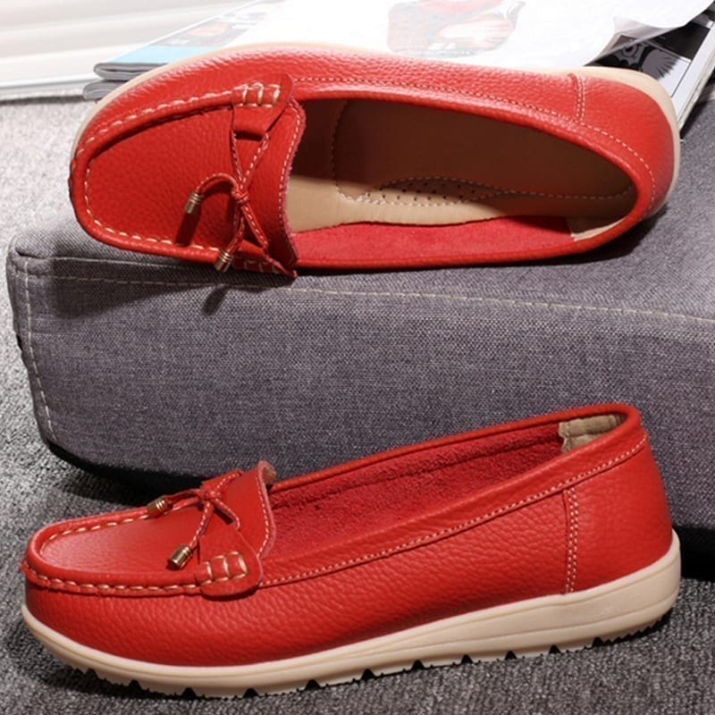 Leather Women Flats Shoes