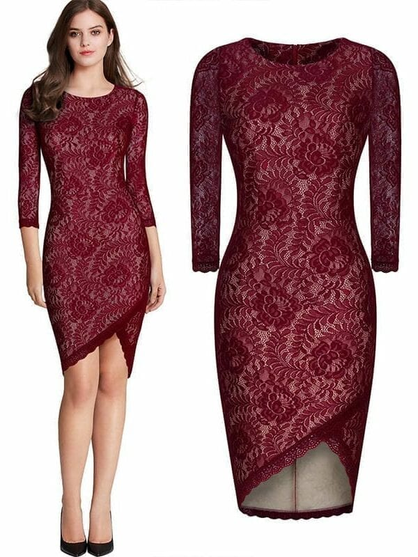 Irregular Curves Round Collar Slim Dress