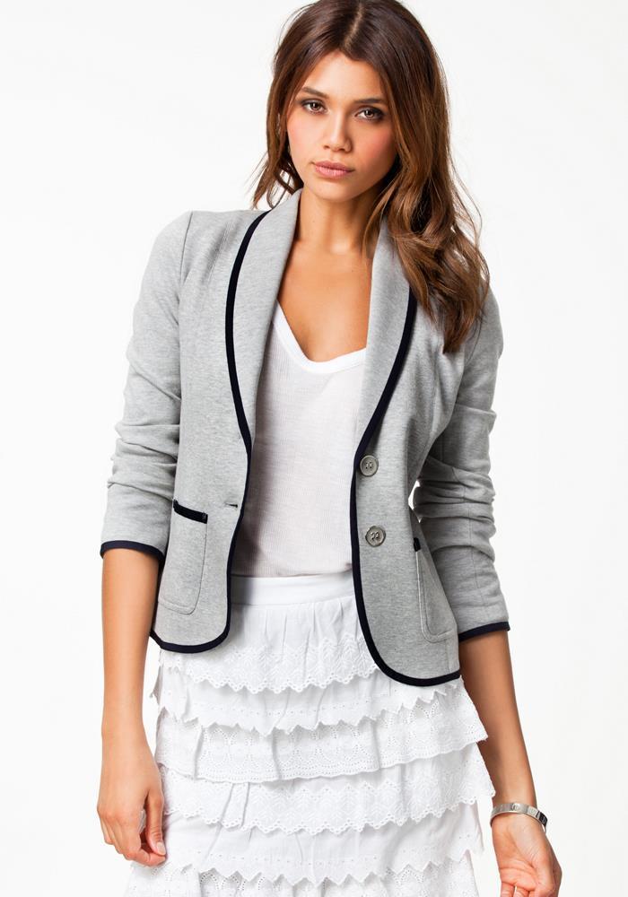 Turn Down Collar Slim Grey Short Jacket
