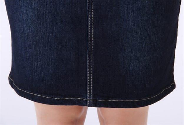 Denim Long Jean Pencil Skirt