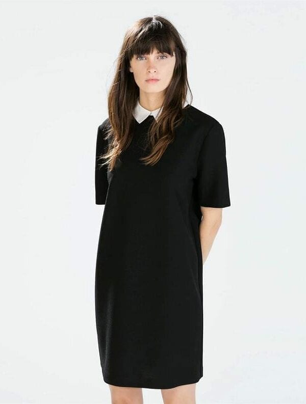 Turn-down Short Sleeve A-line Dress