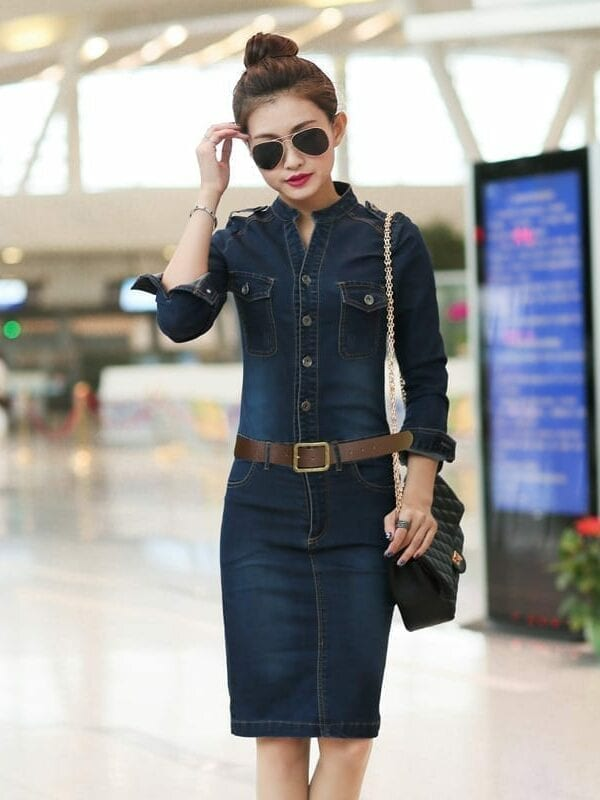 Casual Denim Vintage Dress