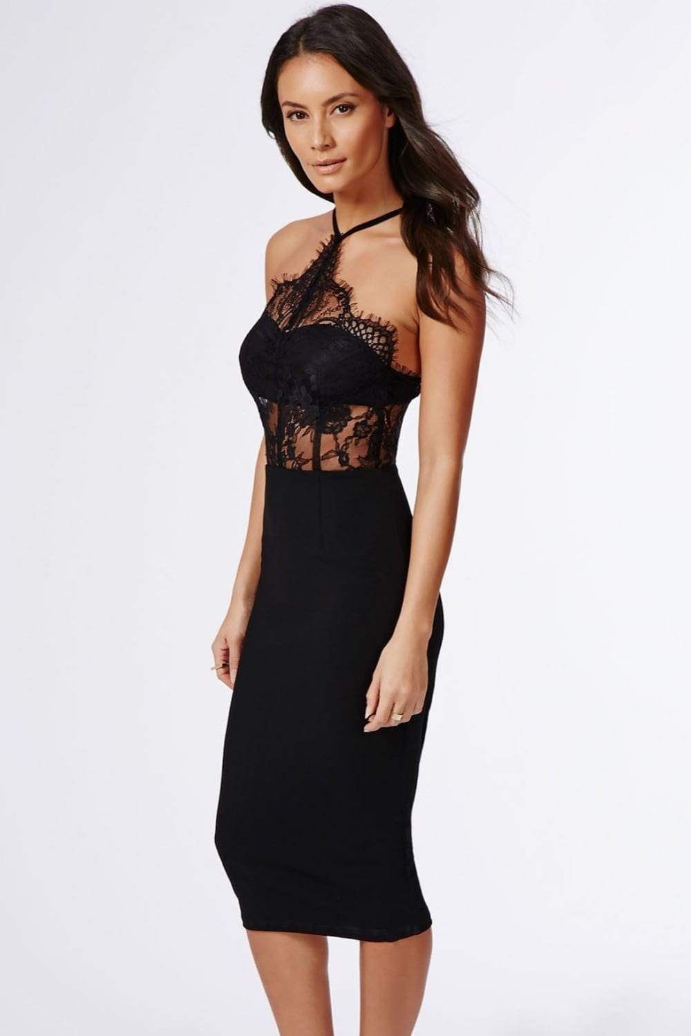Vintage Black Halter Hollow Out Lace Inserted Sheer Fitted Midi Dress