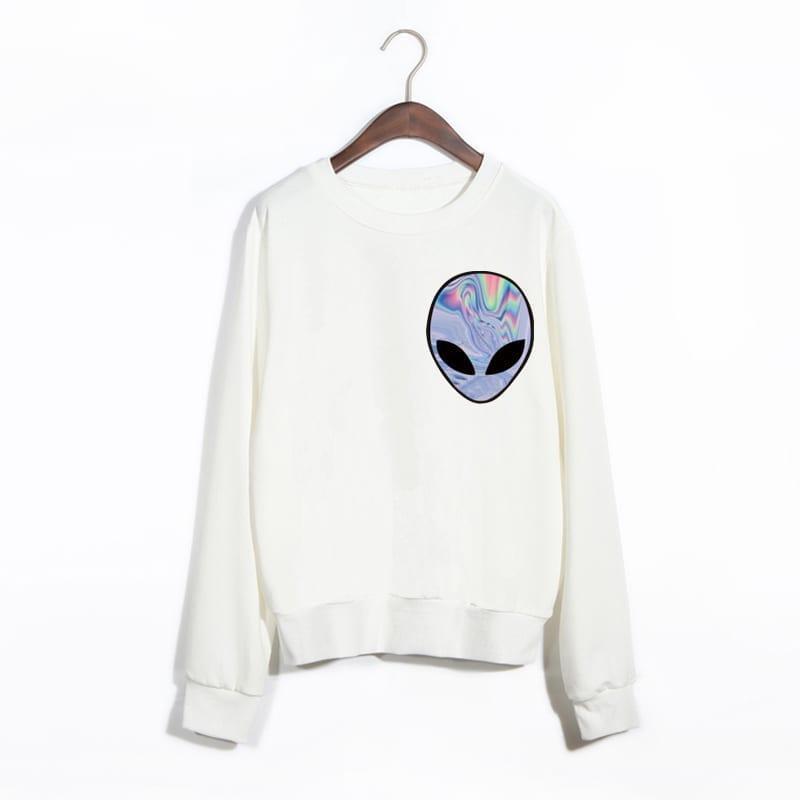 Punk Funny Alien Printed Sport Sweatshirt