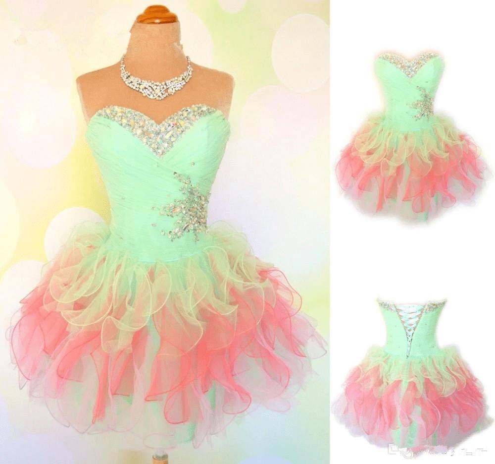 Sweetheart colorful crystal beaded ruffles organza short prom dress
