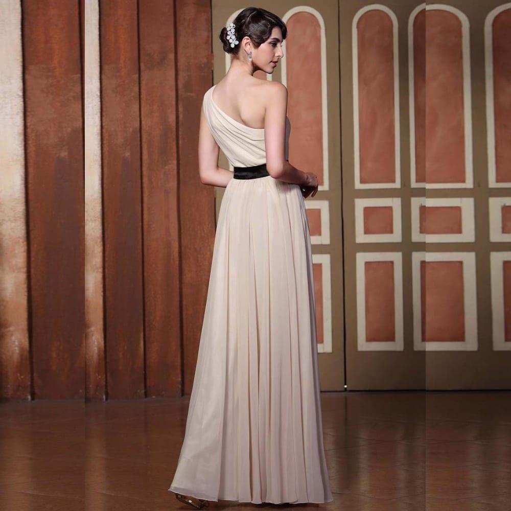 Flower Long Chiffon Handmade One Shoulder Bridesmaid Dress