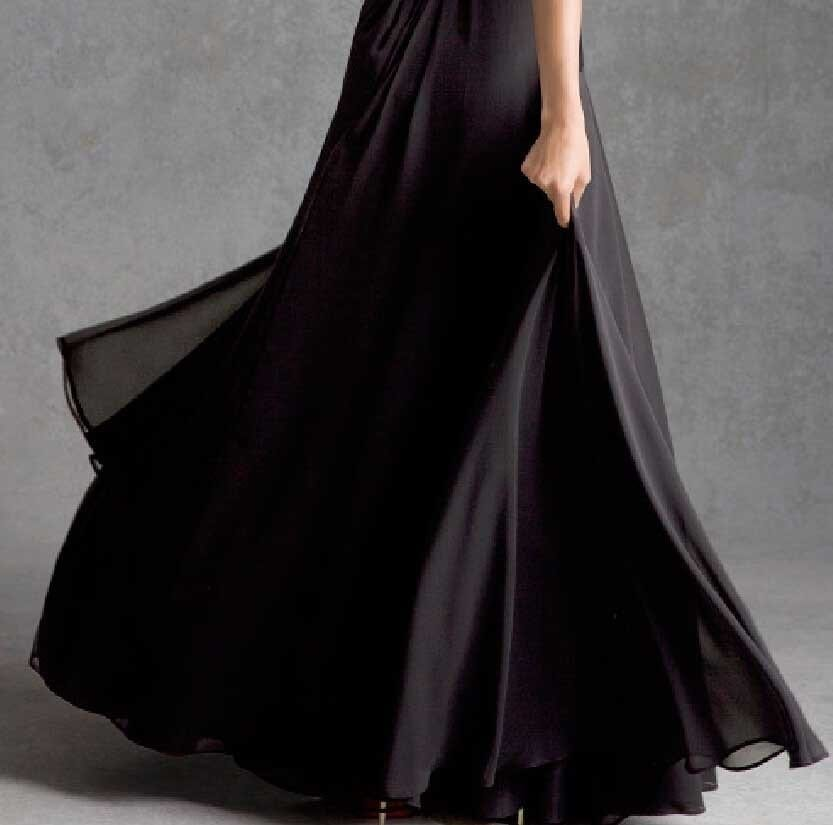 Black V Neck Chiffon With Lace Long A Line Bridesmaid Dress