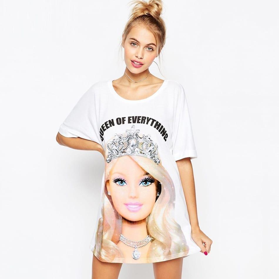 Summer T-shirt Princess Print Loose Casual Mini Dress