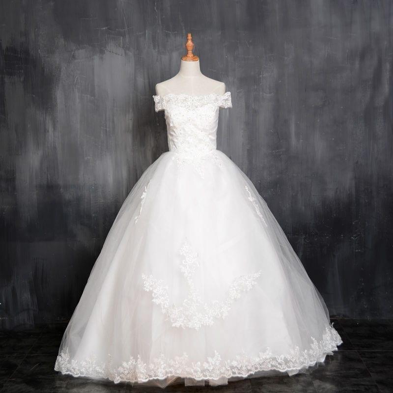 A Line Short Sleeve Court Train Satin Bridal Wedding Dress