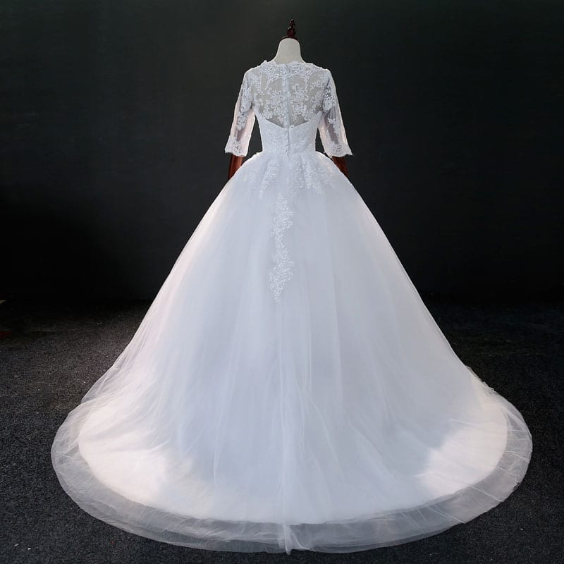 Three Quarter Sleeve Lace Beading Wedding Gown