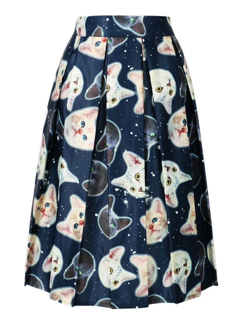 Cute Cat Print Elastic High Waist Skater Pleated Midi Skirt