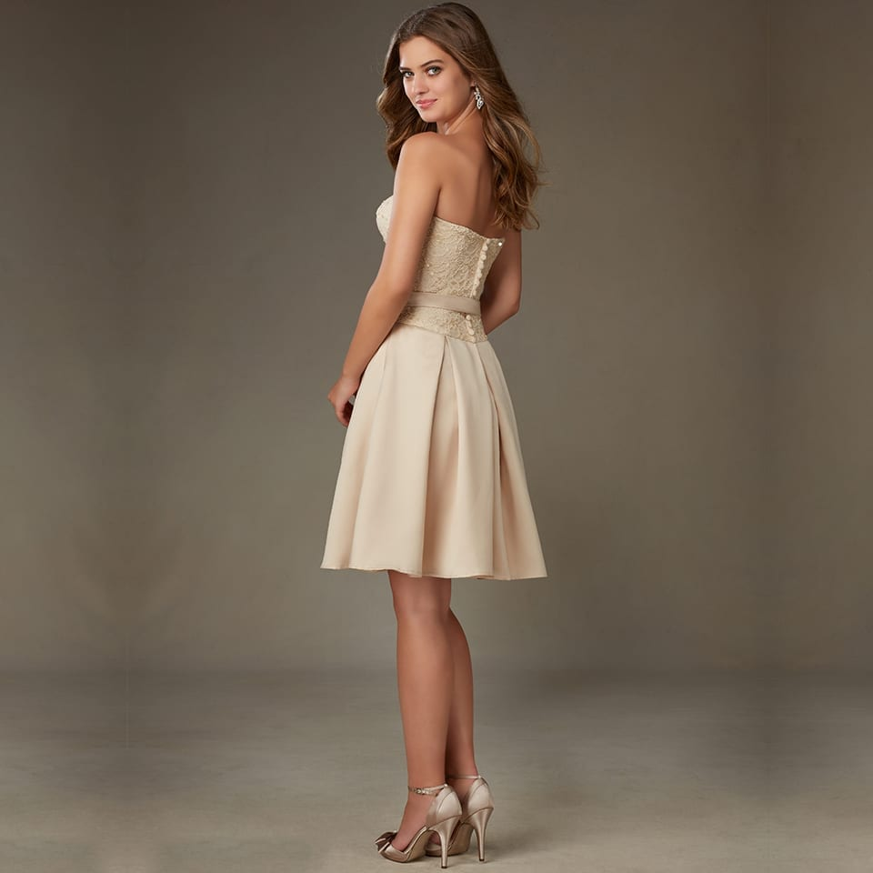 Sweetheart Short Lace Sequined Sashes A-line Bridesmaid Dress