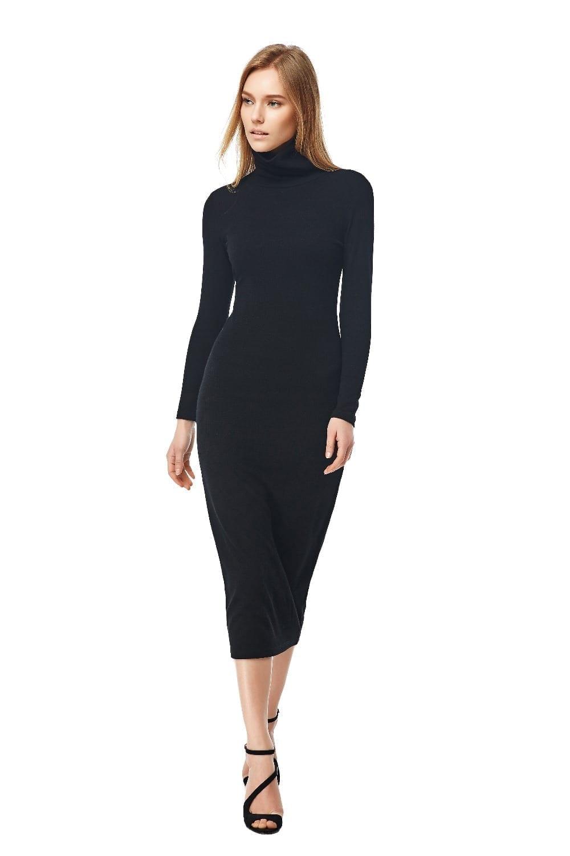 Long Sleeve Turtleneck Long Maxi Winter Dress
