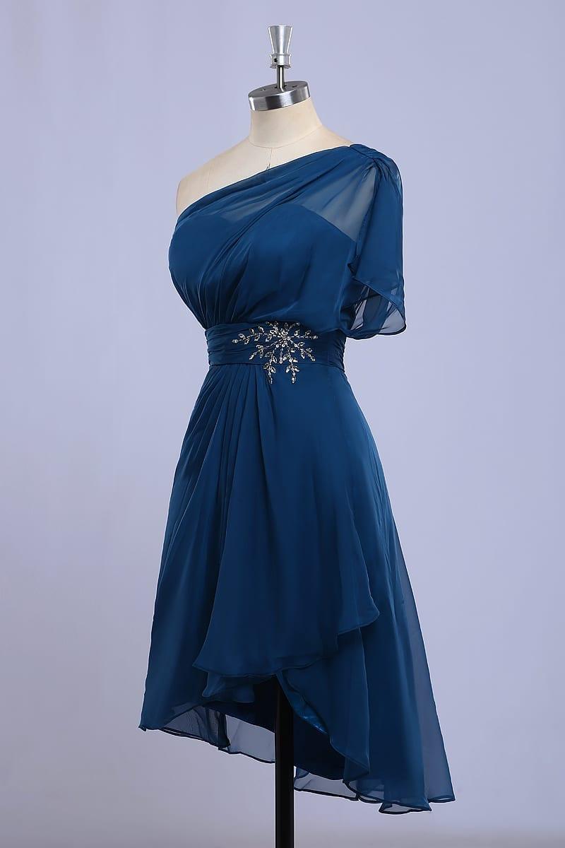 A-line Scoop Short Sleeve Mini Bridesmaid Dress