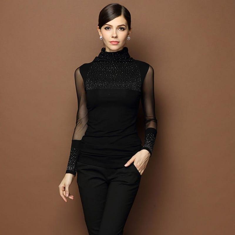 Black Sexy Turtleneck Diamond Design Perspectivity Elastic Turtleneck Sweater