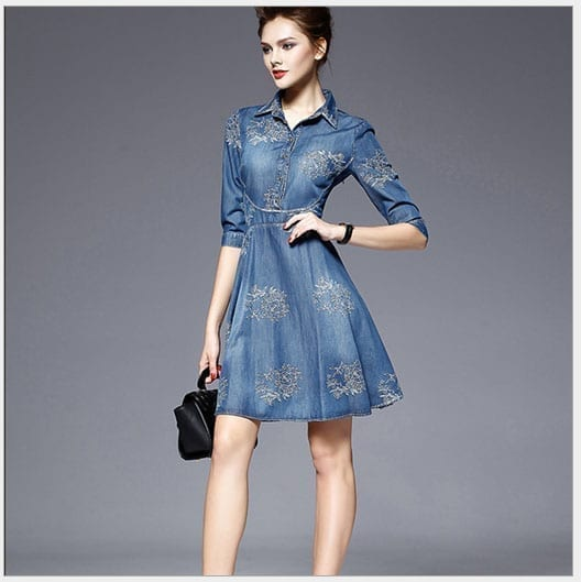 Elegant Cotton Linen Slim Jeans Fit And Flare Embroidery Dress