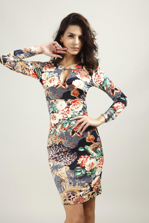Vintage Sexy Flowers Print Long Sleeve Slim Bodycon Dress