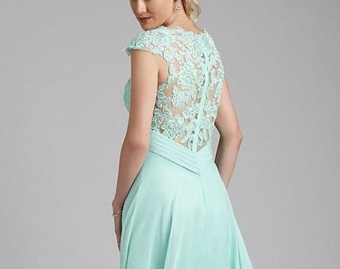 Mint Green Lace Chiffon Long Dress For Bridesmaid