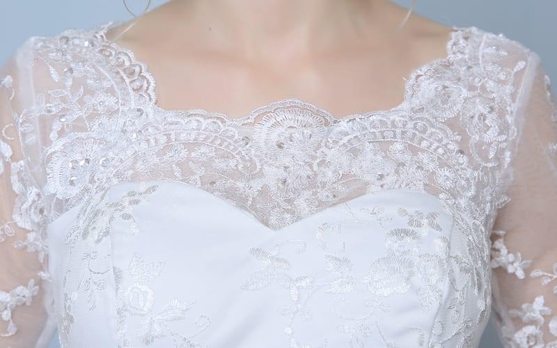 Elegant Three Quarter Sleeve Floor Length Train Lace Mermaid Wedding Dress