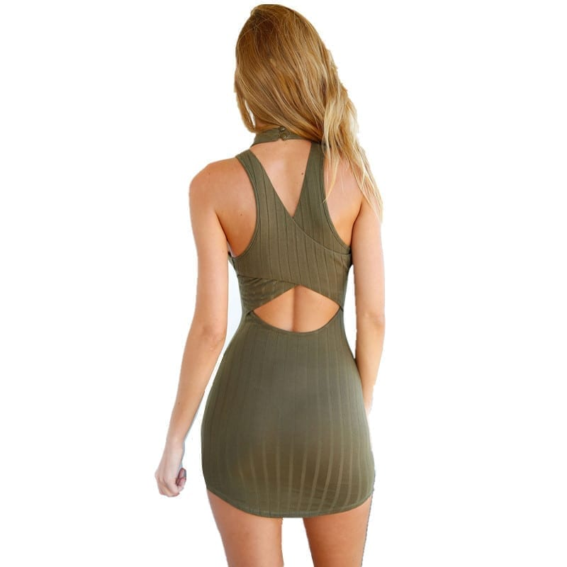 Olive Green Stripped Hatler Bodycon Dress